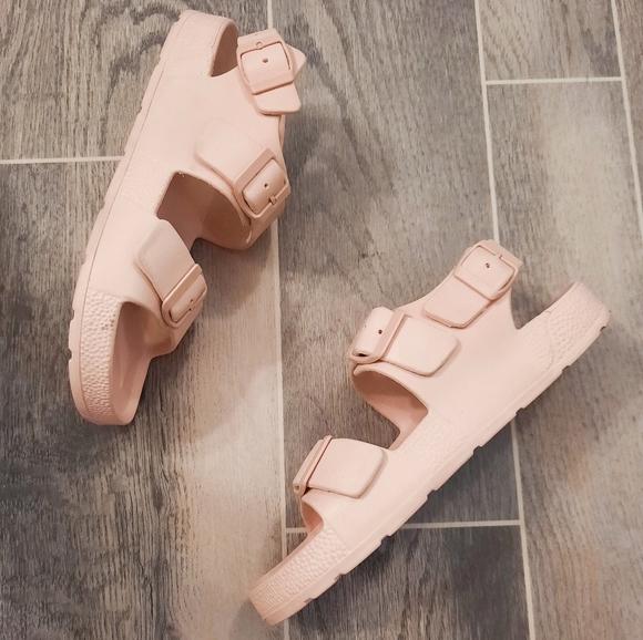 Zara Pink Slides Rubber Sandals 39